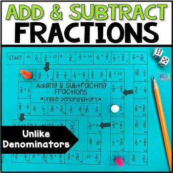 Add and Subtract Fractions with Unlike Denominators Board Game