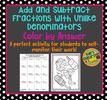 Add and Subtract Fractions with Unlike Denominators Color by Answer