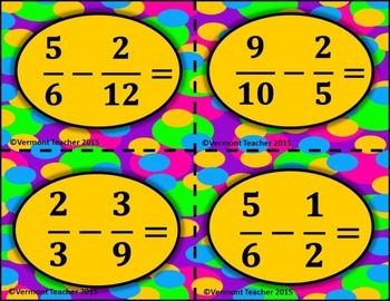 5.NF.A.1 Add and Subtract Fractions with Unlike Denominators Matching Activity