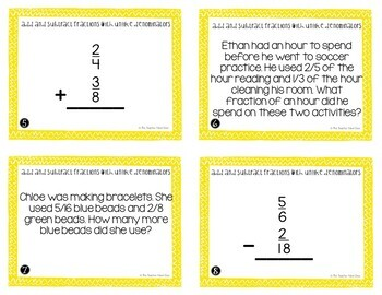 Add and Subtract Fractions with Unlike Denominators Task Cards for 4th Grade