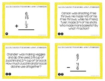 4th Grade Add and Subtract Fractions with Unlike Denominators Task Cards