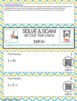 Add and Subtract Fractions with Unlike Denominators  QR Task Cards - 5NF1-