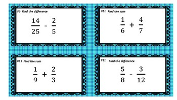 Add and Subtract Fractions with Unlike Denominators TASK CARDS 5.NF.1.A