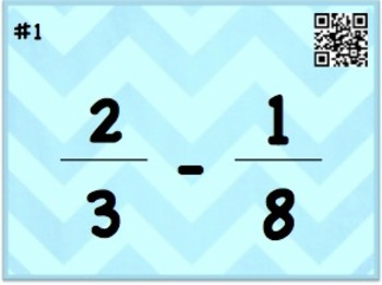 Add and Subtract Fractions with Unlike Denominators Task Cards/QR Codes
