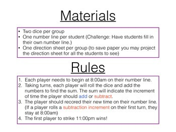 Add and Subtract Increments of Time - Game