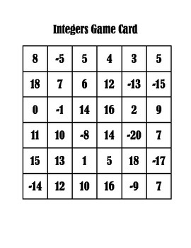 Add and Subtract Integers Activity
