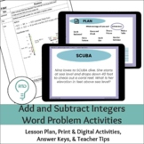 Add and Subtract Integers   Digital and Print Word Problems