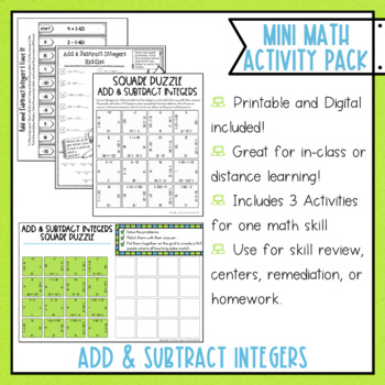 Add and Subtract Integers Math Activities Google Slides and Printable