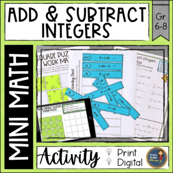 Add and Subtract Integers Math Activities Puzzles and Riddle by ...