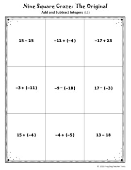 Add and Subtract Integers Nine Square Craze
