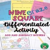 Add and Subtract Integers Nine Square Craze