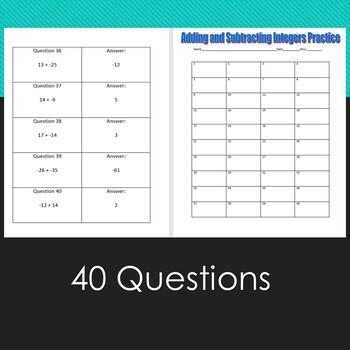 Add and Subtract Integers--Quiz, Quiz, Trade