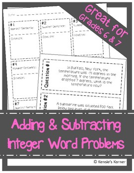 Add and Subtract Integers Word Problems