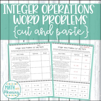 Adding and Subtracting Integers Word Problems Cut and Paste Activity