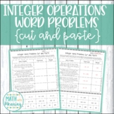 Adding and Subtracting Integers Word Problems Cut and Past