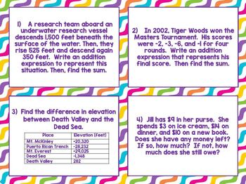 Add and Subtract Integers Word Problems Task Card Stations