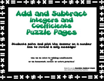 Add and Subtract Integers and Coefficients- Two Puzzle Pages