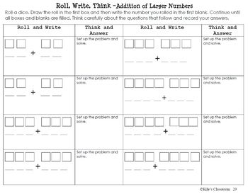 Add and Subtract Large Numbers - Roll, Write, Think! - Dice Activity