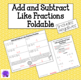Add and Subtract Like Fractions Foldable