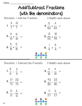 Add and Subtract Like Fractions