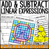 Add and Subtract Linear Expressions Activity Pack - Distan