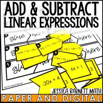 Add and Subtract Linear Expressions Matching Activity
