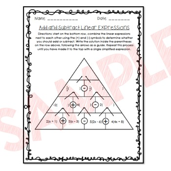 Add and Subtract Linear Expressions Pyramid Activity