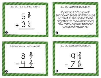 Add and Subtract Mixed Numbers Task Cards for 4th Grade