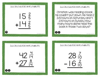 Add and Subtract Mixed Numbers Task Cards | Mixed Numbers Center Game