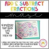 Add and Subtract Fractions and Mixed Numbers Maze 5.3H and 5.3K