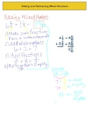 Add and Subtract Mixed Numbers Note Sheet