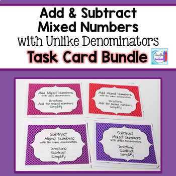 Add and Subtract Mixed Numbers Task Card Bundle