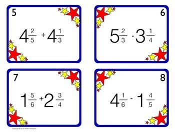 Add and Subtract Mixed Numbers Task Cards