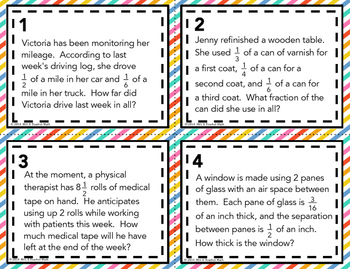 Mixed Numbers Word Problem Task Cards:  Add and Subtract