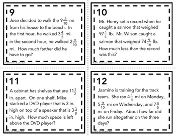 math worksheet : mixed numbers word problem task cards add and subtract by mrs e  : Mixed Number Word Problems