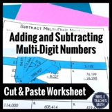 Add and Subtract Multi-Digit Numbers Cut and Paste Workshe