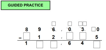 Add and Subtract Multi-Digit Whole Numbers with Missing Digits - Answer Key