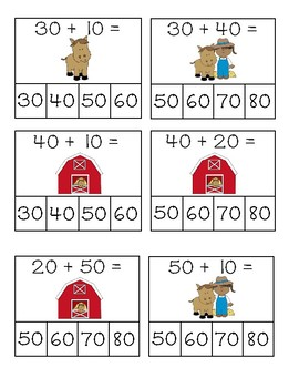 Add and Subtract Multiples of 10: Worksheets, Center Activity, and Clip Cards