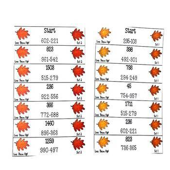 Add and Subtract Thanksgiving Game