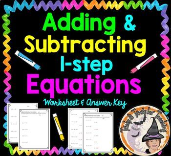 Adding and Subtracting One 1 Step Equations Practice Worksheet Add Subtract