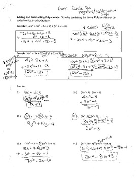 Add and Subtract Polynomial Expressions