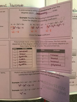 Add and Subtract Polynomials Foldable INB