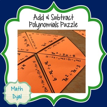 Add and Subtract Polynomials Puzzle