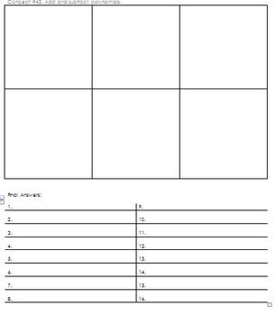 Add and Subtract Polynomials Scavenger Hunt