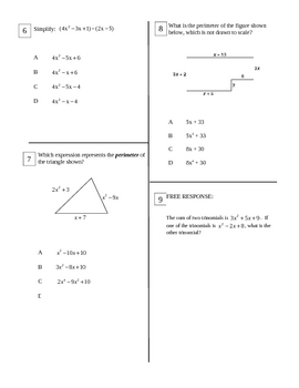 Add and Subtract Polynomials Test