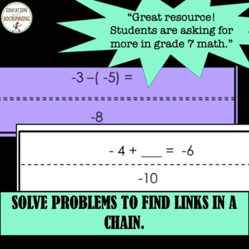 Add and Subtract Positive and Negative Integers Paper Chain Activity UPDATED