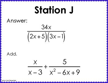 Add and Subtract Rational Expressions Scavenger Hunt