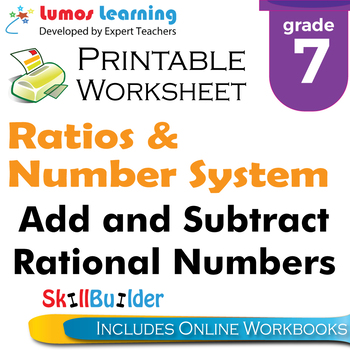 Add and Subtract Rational Numbers Printable Worksheet, Grade 7
