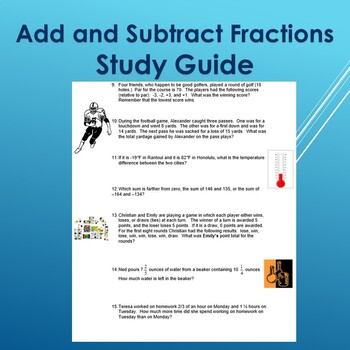 Add and Subtract Rational Numbers Study Guide