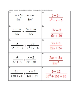 Adding And Subtracting Rational Expressions Worksheet ...